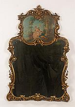 LOUIS XIV STYLE GILT CARVED TRUMEAU MIRROR C.1920