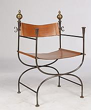SINGLE IRON LEATHER SAVONROLA CHAIR