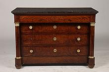 19TH CENT. FRENCH MAHOGANY BLACK MARBLE COMMODE