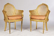 PAIR OF CARVED & GILTWOOD LOUIS XVI CHAIRS C.1900