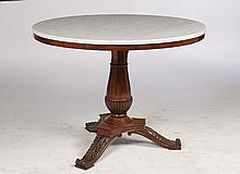 19TH C. MAHOGANY MARBLE TOP CENTER TABLE