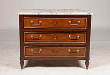 FRENCH POLISHED MARBLE TOP COMMODE LOUIS XVI