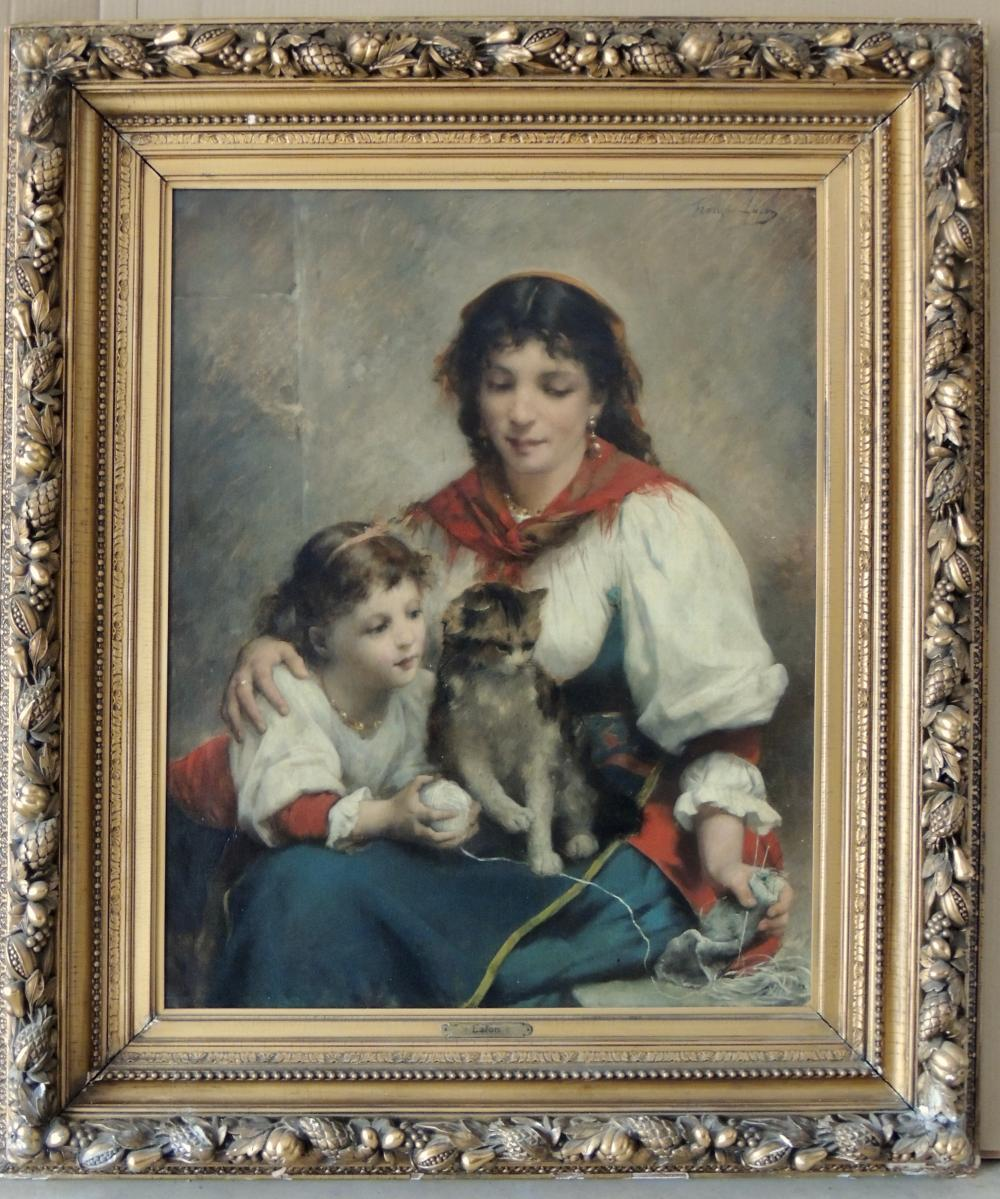 FRANCOIS LAFON MOTHER CHILD CAT OIL ON CANVAS