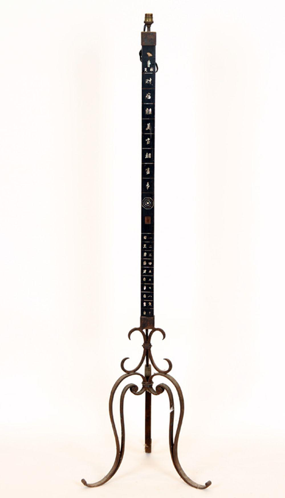 IRON FLOOR LAMP CHINESE MOTHER OF PEARL INLAID