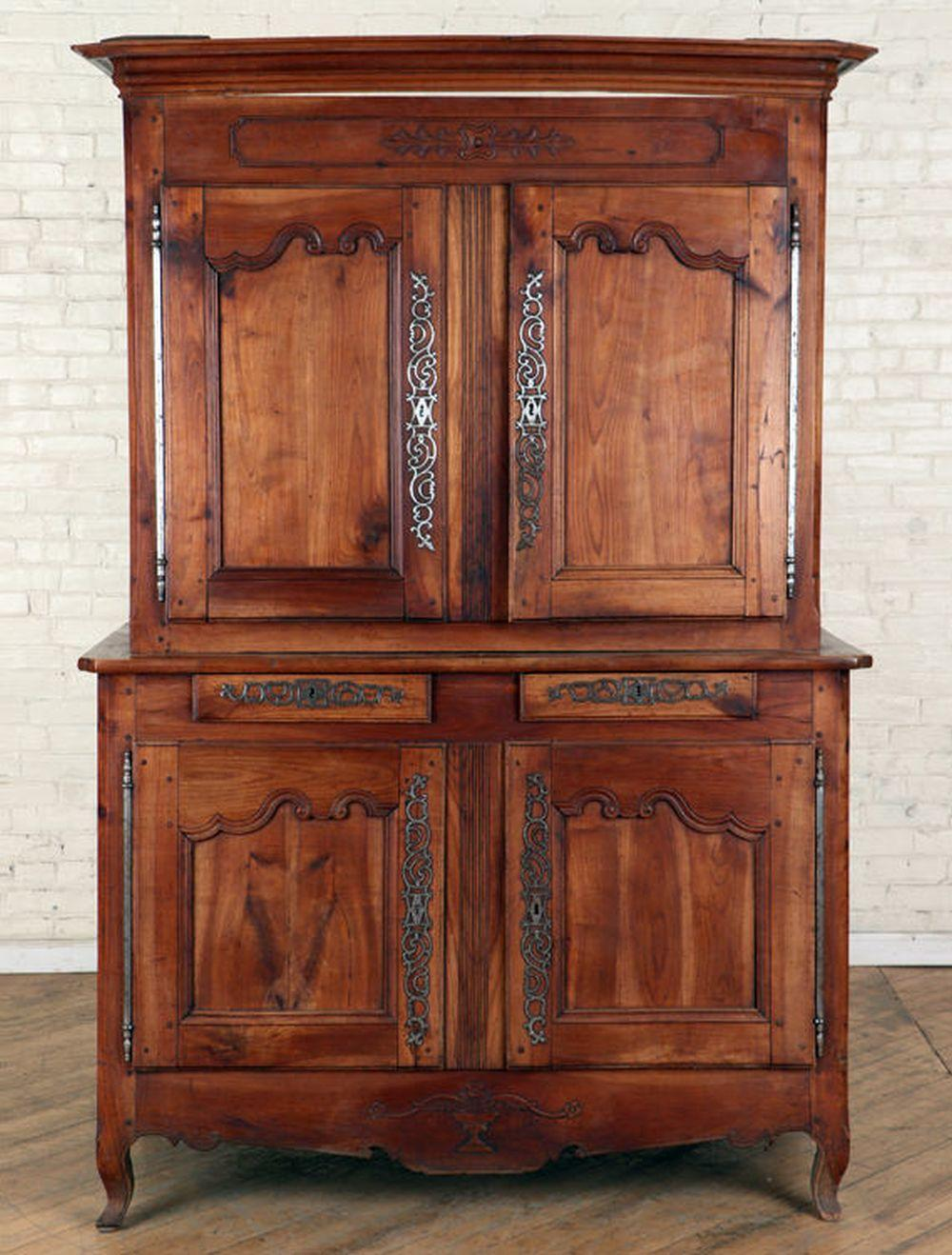 3-PART 18TH CENTURY FRENCH CHERRY CABINET