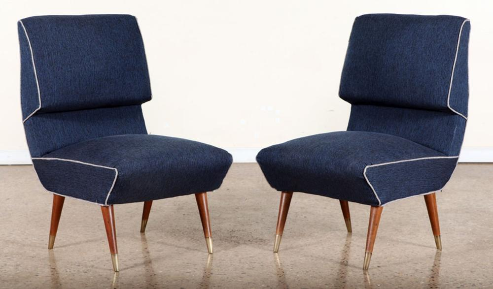 PAIR OVERSIZED UPHOLSTERED SIDE CHAIRS C.1950