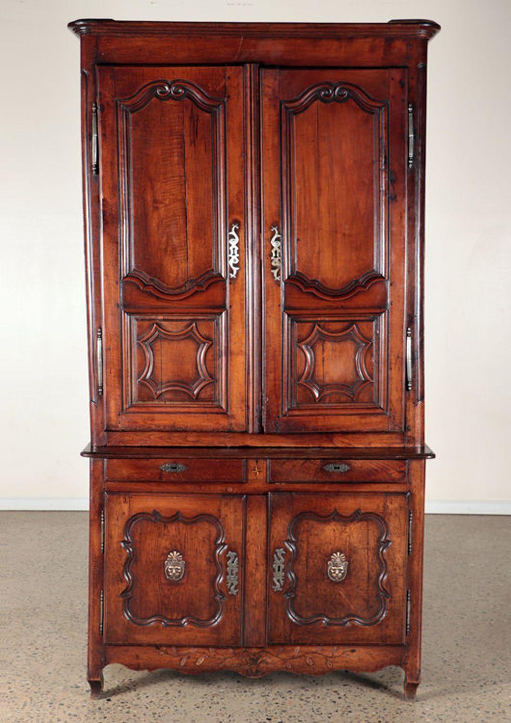 FRENCH OAK 18TH C. 2-PART CABINET PANELED DOORS