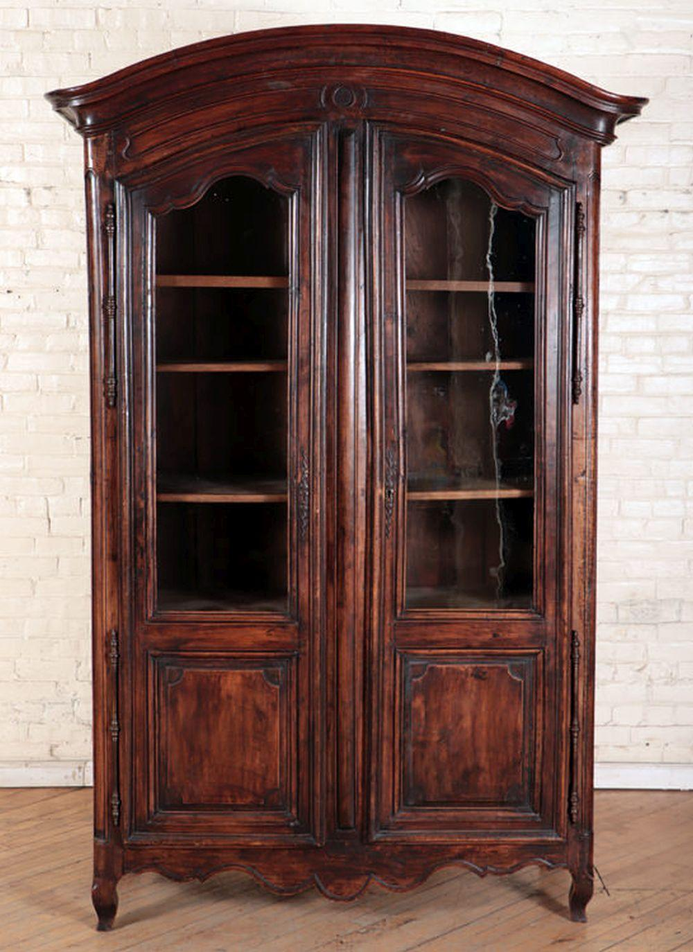 19TH C. FRENCH WALNUT TWO DOOR ARMOIRE
