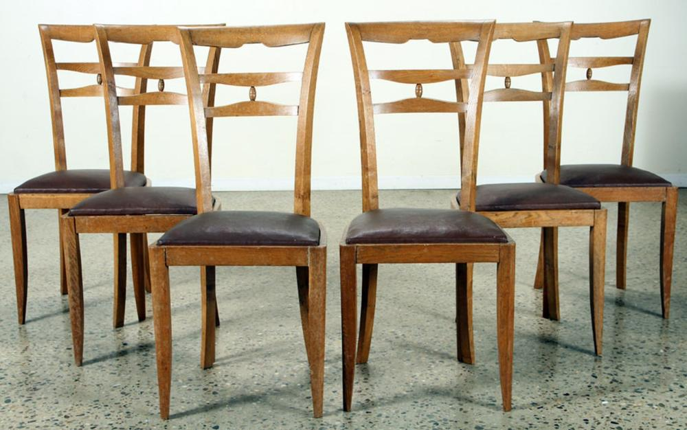 SET 6 FRENCH OAK DINING CHAIRS C.1950