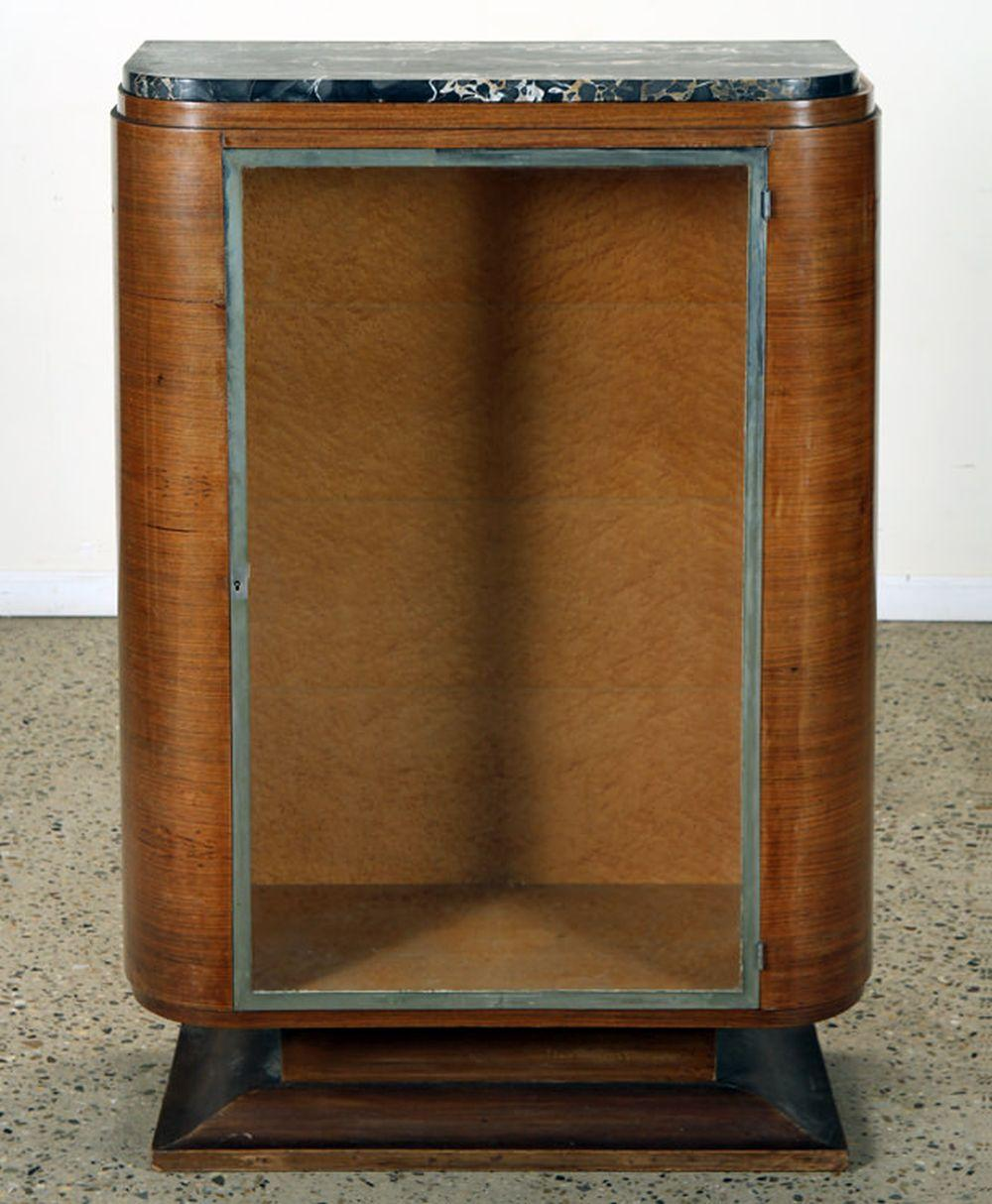 FRENCH ART DECO MARBLE TOP DISPLAY CASE C.1935