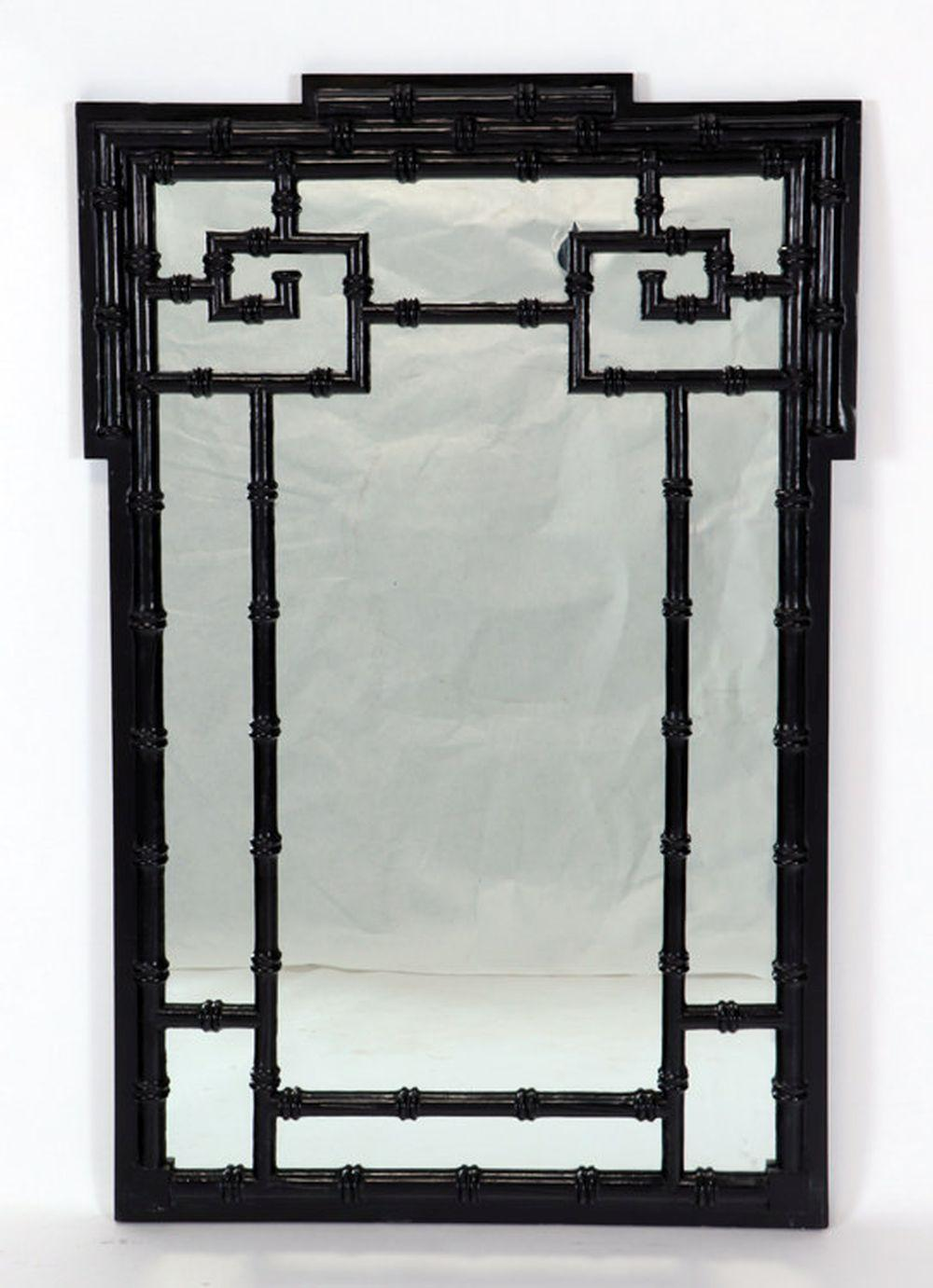 HOLLYWOOD REGENCY STYLE PAINTED FAUX BAMBOO MIRRO