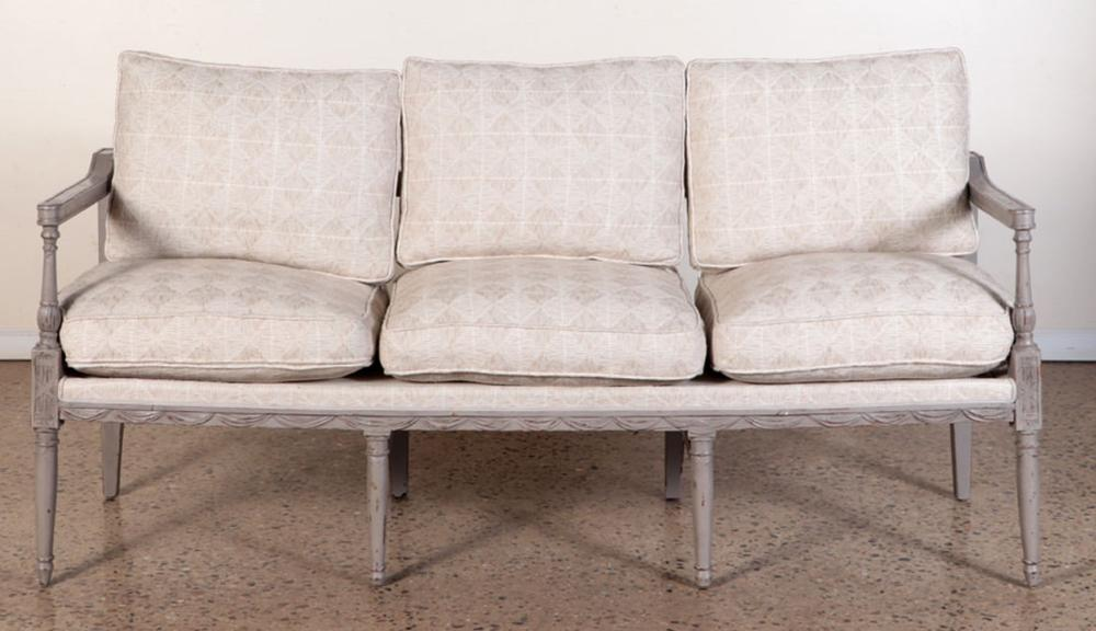 PAINTED FRENCH SOFA LOOSE CUSHION UPHOLSTERY 1890