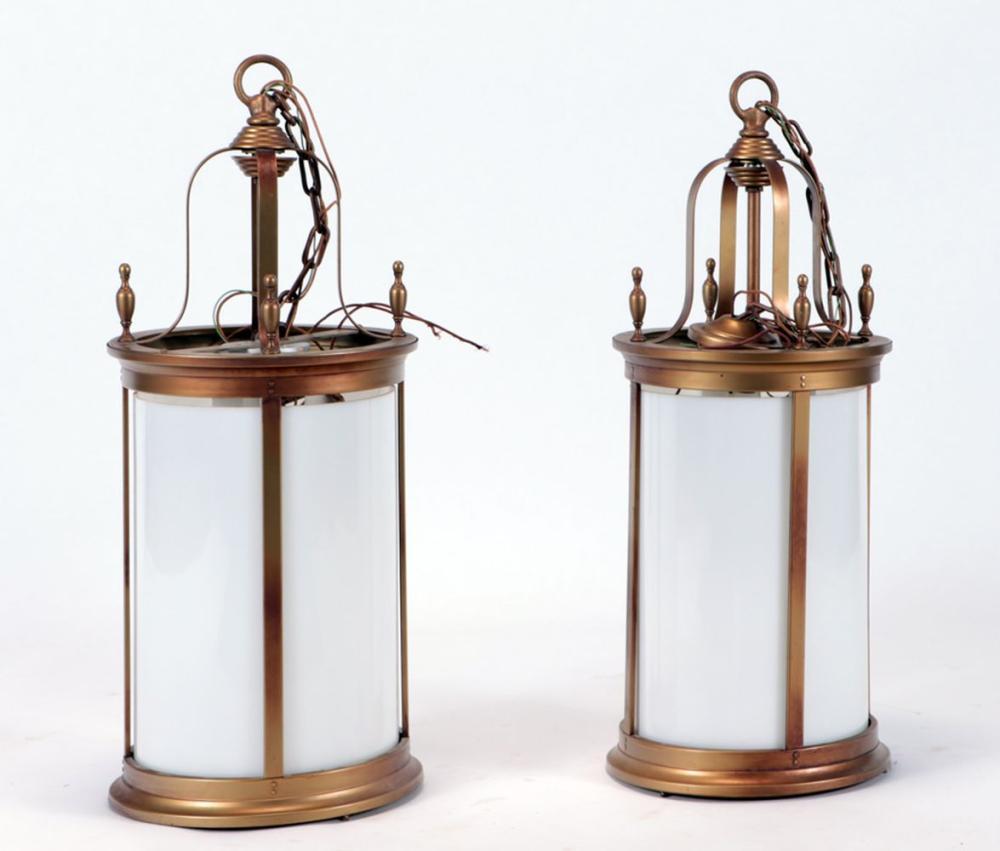 PAIR HANGING IRON LANTERNS MILK GLASS INSERTS 195
