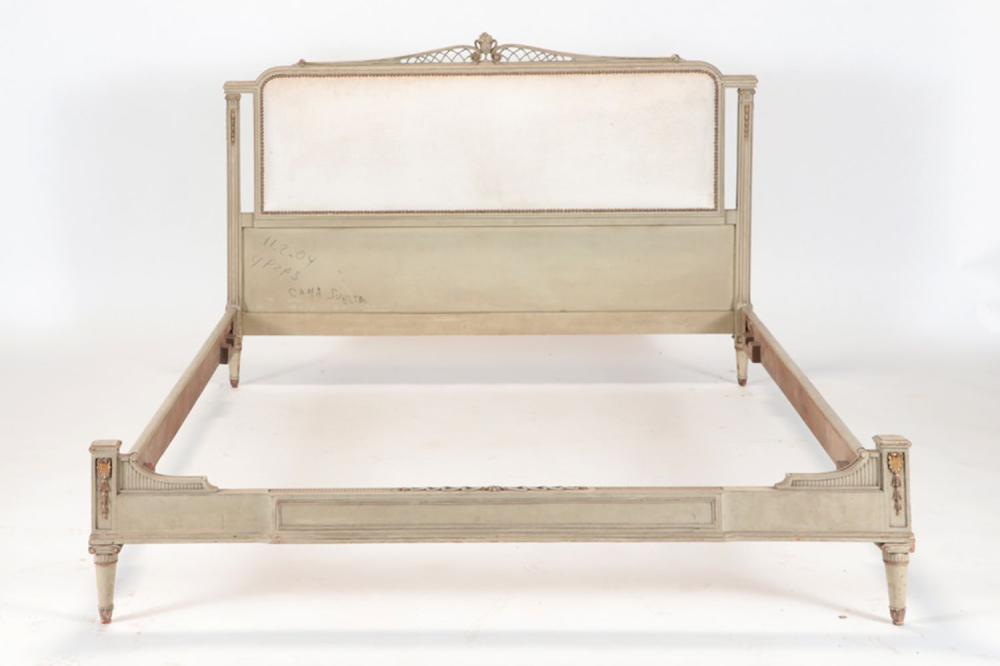 PAINTED CARVED LOUIS QUEEN BED MANNER JANSEN C195