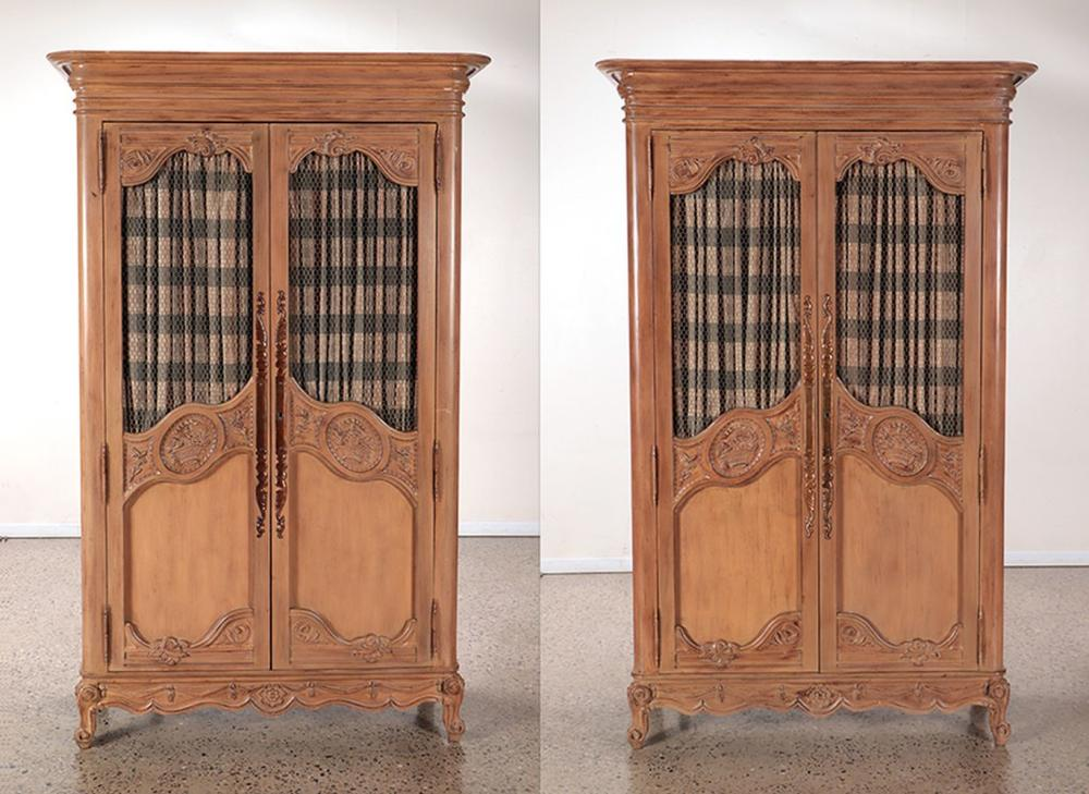 CARVED WOOD FRENCH PROVINCIAL ARMOIRES C 1960