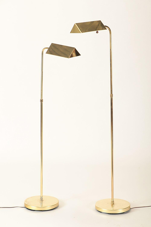 PAIR OF BRASS CHAPMAN STYLE FLOOR LAMPS