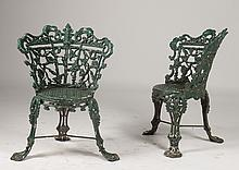 PR OF VICTORIAN CAST IRON GARDEN CHAIRS C. 1900