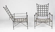 PAIR SALTERINI WROUGHT IRON TERRACE CHAIRS