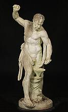 NICELY CARVED MARBLE FIGURE MALE STRADDLING ANVIL