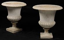 PAIR CARVED MARBLE CAMPANA FORM GARDEN URNS