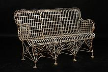 VICTORIAN WIRE WORK GARDEN BENCH C. 1900