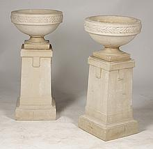 PR GALLOWAY BUFF TERRACOTTA URNS 1930