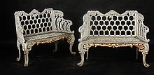 CAST IRON GARDEN BENCHES FLORAL DESIGN C. 1890