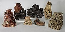 UNUSUAL 7 CHINESE SOAPSTONE CARVINGS