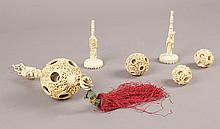 6 PIECE COLLECTION OF ANTIQUE CARVED IVORY ITEMS