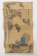 CHINESE WATERCOLOR  ON PAPER OF SEATED MAN
