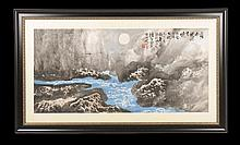 LARGE MIXED MEDIA SIGNED ASIAN SEASCAPE DRAWING