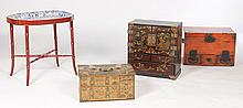 4 PIECE LOT -3 ASIAN CABINETS & DAVENPORT TRAY