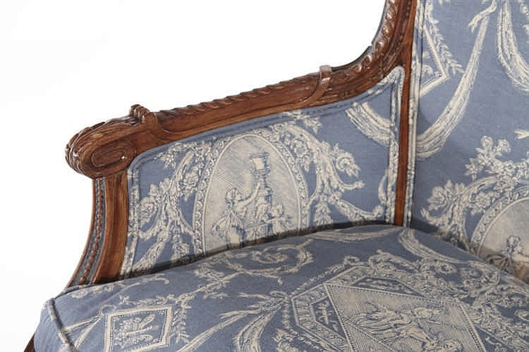 19th cent french louis xvi 3 part chaise lounge for Chaises louis xvi occasion