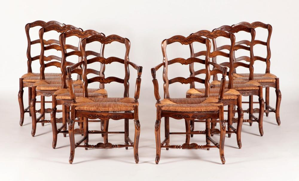 SET 8 FRENCH PROVINCIAL STYLE RUSH DINING CHAIRS