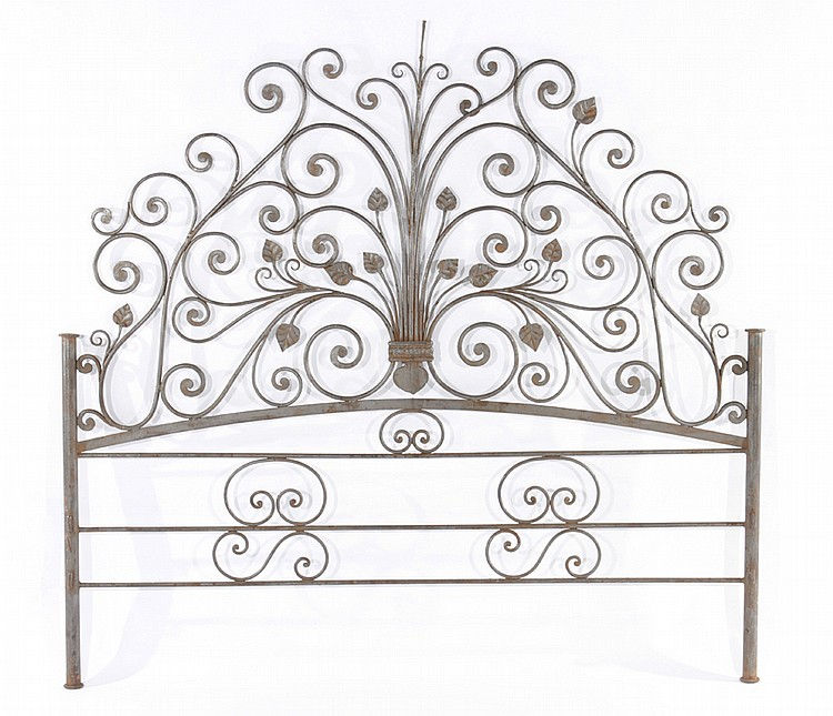 WROUGHT IRON SCROLL AND LEAF DECORATED HEADBOARD