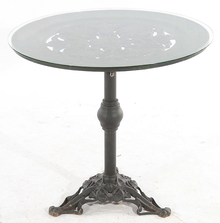 Cast iron garden table glass top tripod base for Cast iron table with glass top