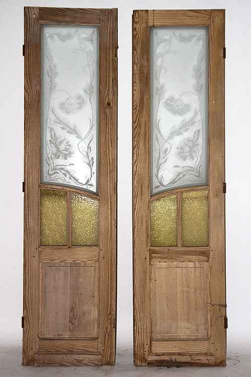 Pair of walnut and etched glass doors circa 1910 for Home decor 1910
