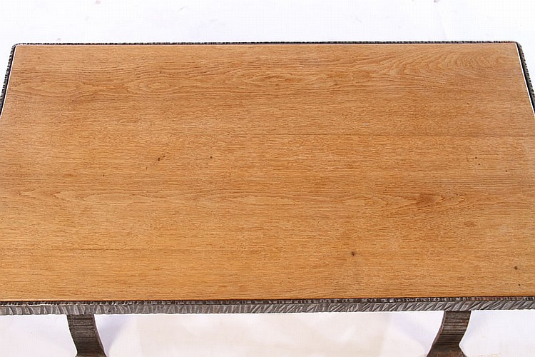 French fer forge coffee table wood top 1930 - Table fer forge ikea ...