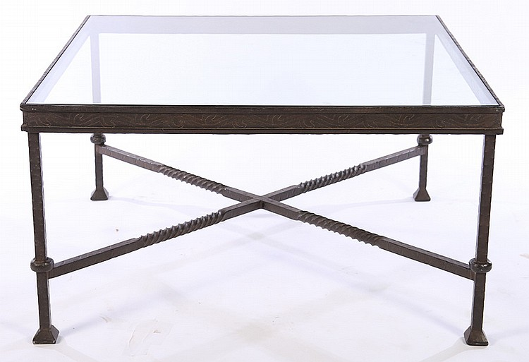 Large wrought iron coffee table inset glass top for Glass top coffee table with wrought iron legs