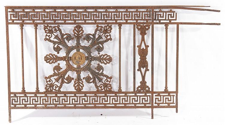 Pair French Cast Iron Panels Greek Key