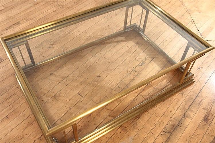Brass glass coffee table tubular design - The tubular glass house ...