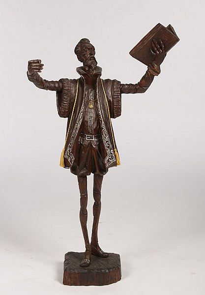 MID 20TH C. CARVED WOOD SCULPTURE OF A PROFESSOR