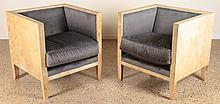 PAIR UPHOLSTERED PARCHMENT CUBE FORM CHAIRS