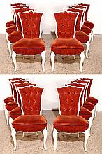 RARE SET 18 HOLLYWOOD REGENCY STYLE DINING CHAIRS
