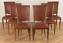 SET 6 FRENCH UPHOLSTERED MAHOGANY DINING CHAIRS