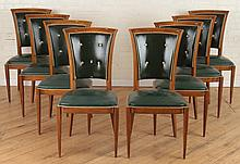 SET 8 UPHOLSTERED WALNUT DINING CHAIRS CIRCA 1940