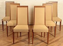 SET 6 UPHOLSTERED MAHOGANY DECO DINING CHAIRS