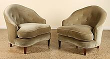 PAIR UPHOLSTERED FRENCH LIBRARY CHAIRS CIRCA 1940