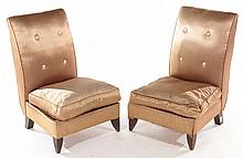 PAIR FRENCH BOUDOIR CHAIRS SILK BUTTON BACK C1930