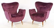 PAIR MODERN BUTTERFLY CHAIRS UPHOLSTERED 1960